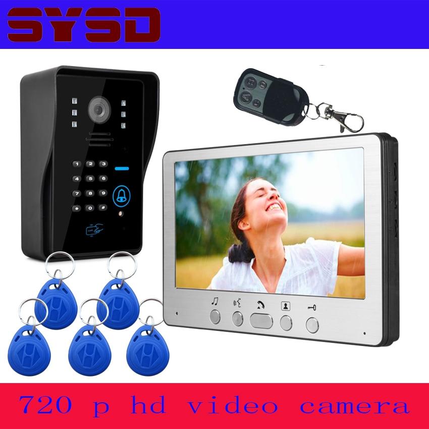 SYSD 7 дюймов видеодомофон домофон дверной звонок ворота телефон непромокаемый ночное видение домашняя система безопасности