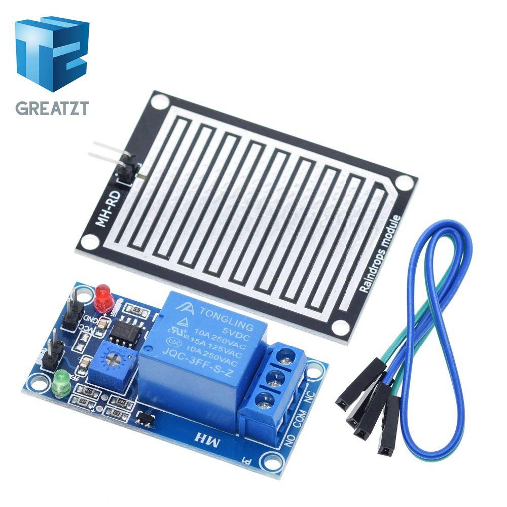 Rain water sensor module + DC 12V Relay Control Module Rain Sensor Water Raindrops Detection Module for Arduino robot kit