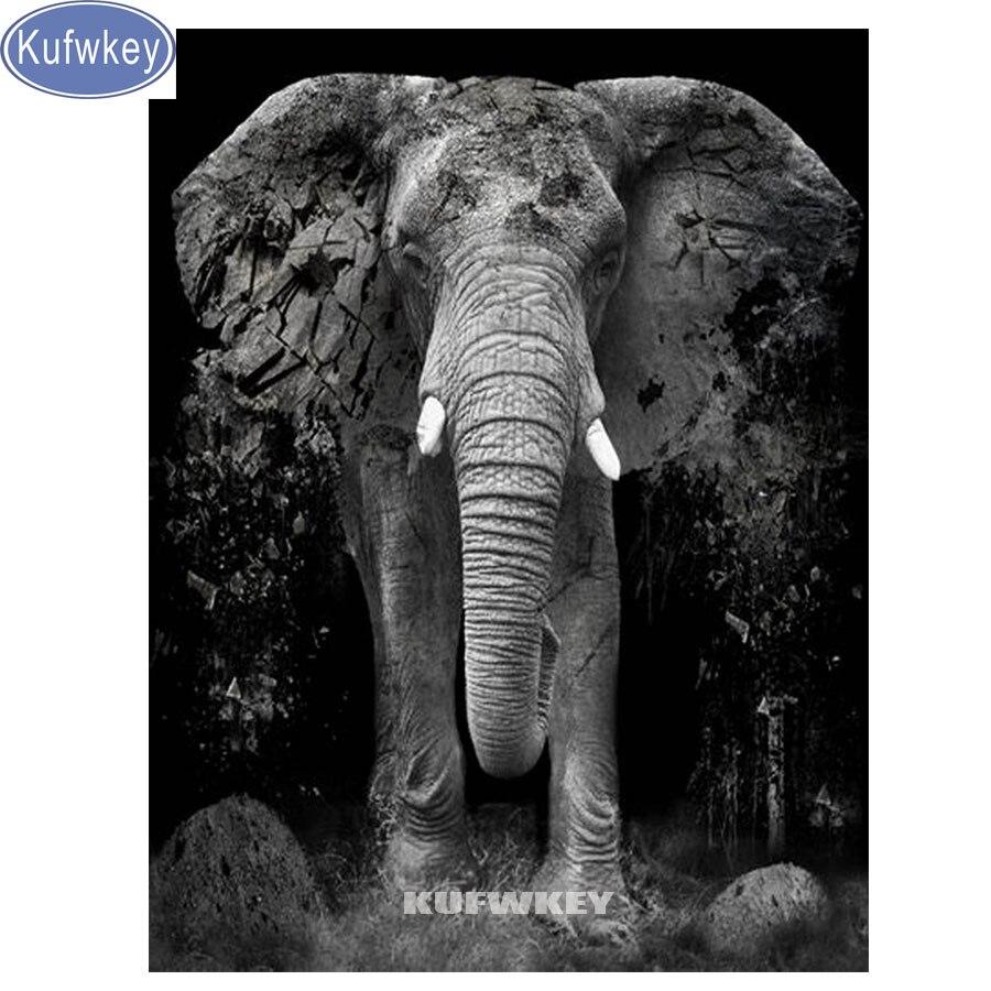 Kufwkey elefante diamante pintura cuadrado completo taladro redondo, animales bordados 3d 5d imagen de mosaico de diamantes de imitación, nuevas llegadas