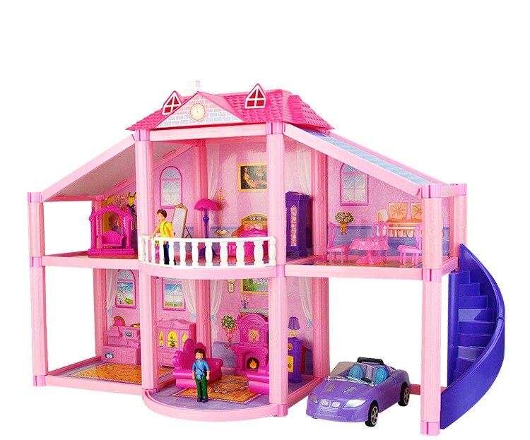Doll House Furniture Plastic Car Bed Man Kids Miniature Table Diy Dollhouse Educational Toys Pink Large Big Doll House Model Kit