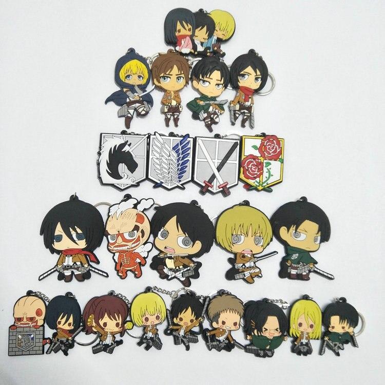 23 unids/set Anime Attack on Titan juguete de figura de pvc Eren Rival Armin llavero colgante juguetes para regalos