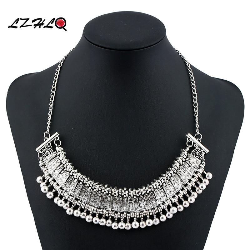 LZHLQ 2020 Fashion Brand Gypsy Collar Choker Necklace Pendants Vintage Punk Ethnic Boho Statement Maxi Necklace Women Jewelry