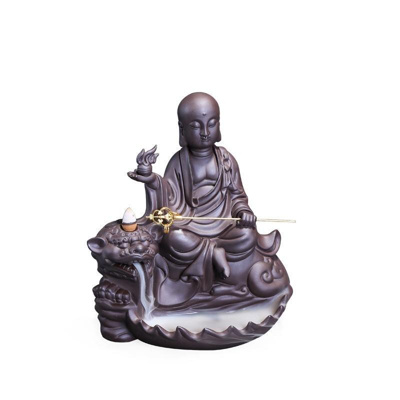Retro Fumaça Fluindo Ornamento Estatueta Monge Meditando Estátua de Buddha Queimador de Incenso Titular Incensário Cone Refluxo Home Decor Zen