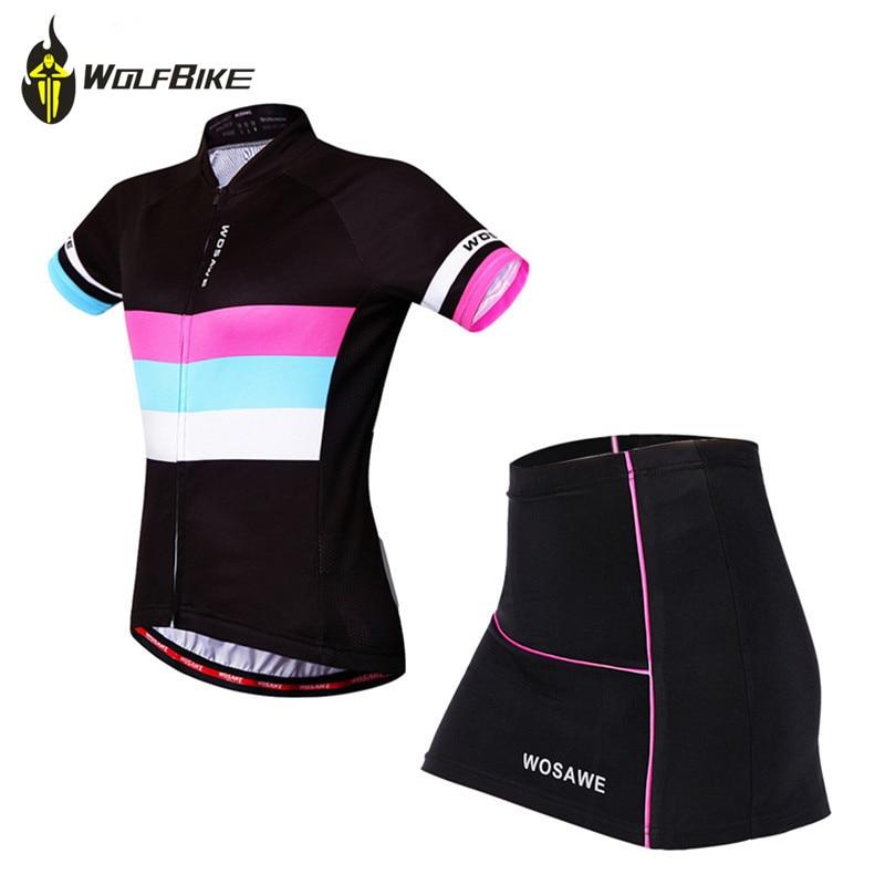 WOSAWE Летняя женская мини-юбка + рубашка, Ropa Ciclismo, комплекты велосипедной одежды из дышащего материала, MTB, велосипедная одежда с коротким рука...