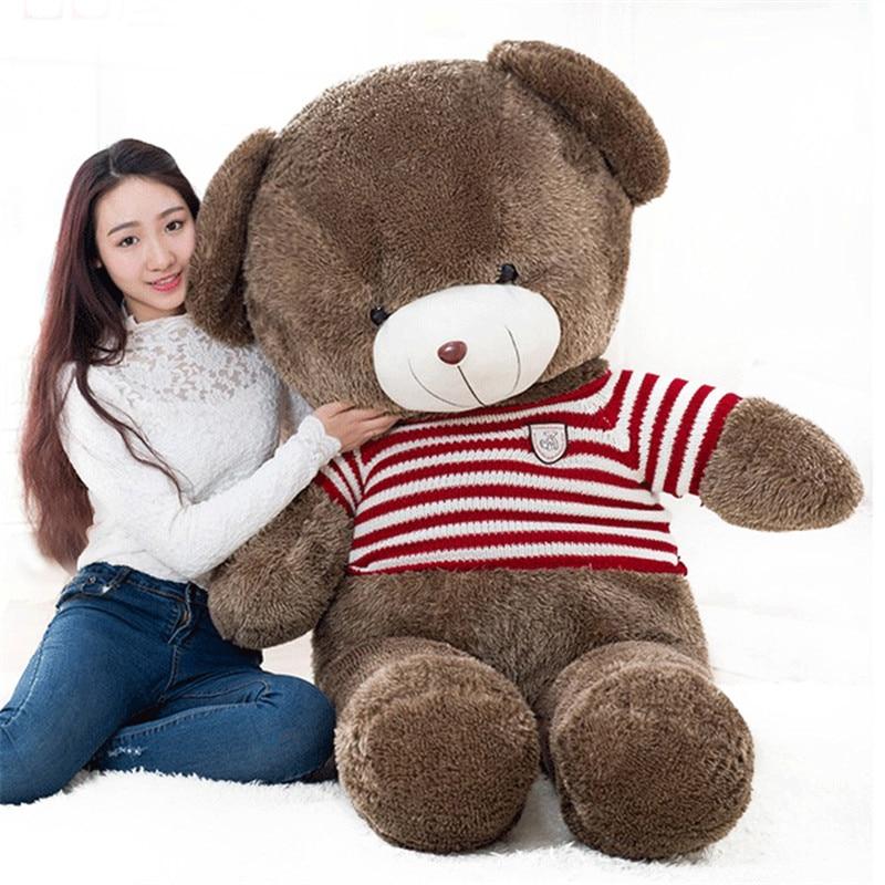 Duże pluszowe okrągłe oczy czerwony sweter w paski zabawka pluszowy miś świetnie zagrywa lalka miś prezent o 160cm