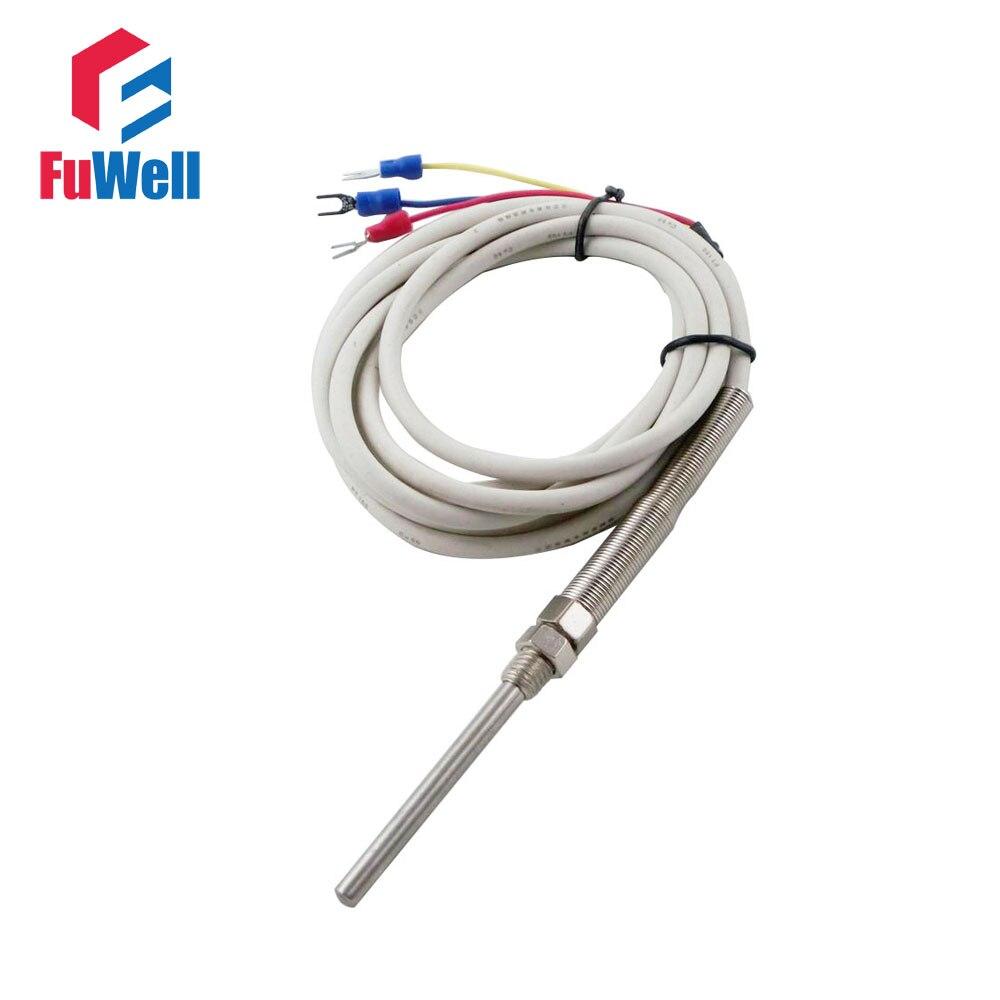 PT100 Sensor de Control de temperatura termopar 5x50mm/5x100mm la sonda 1 M/2 M /3 M de alambre blanco