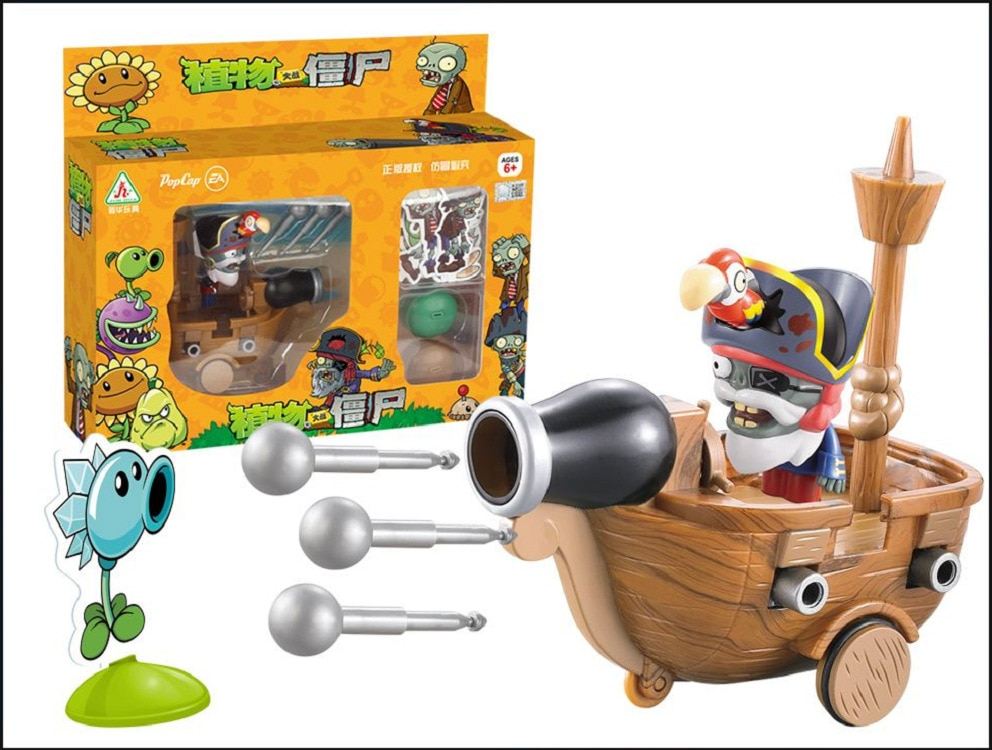 El nuevo genuino licencia planta plantas Vs zombies juguete capitán Pirata puede Enviar un barco de devolución para el objetivo