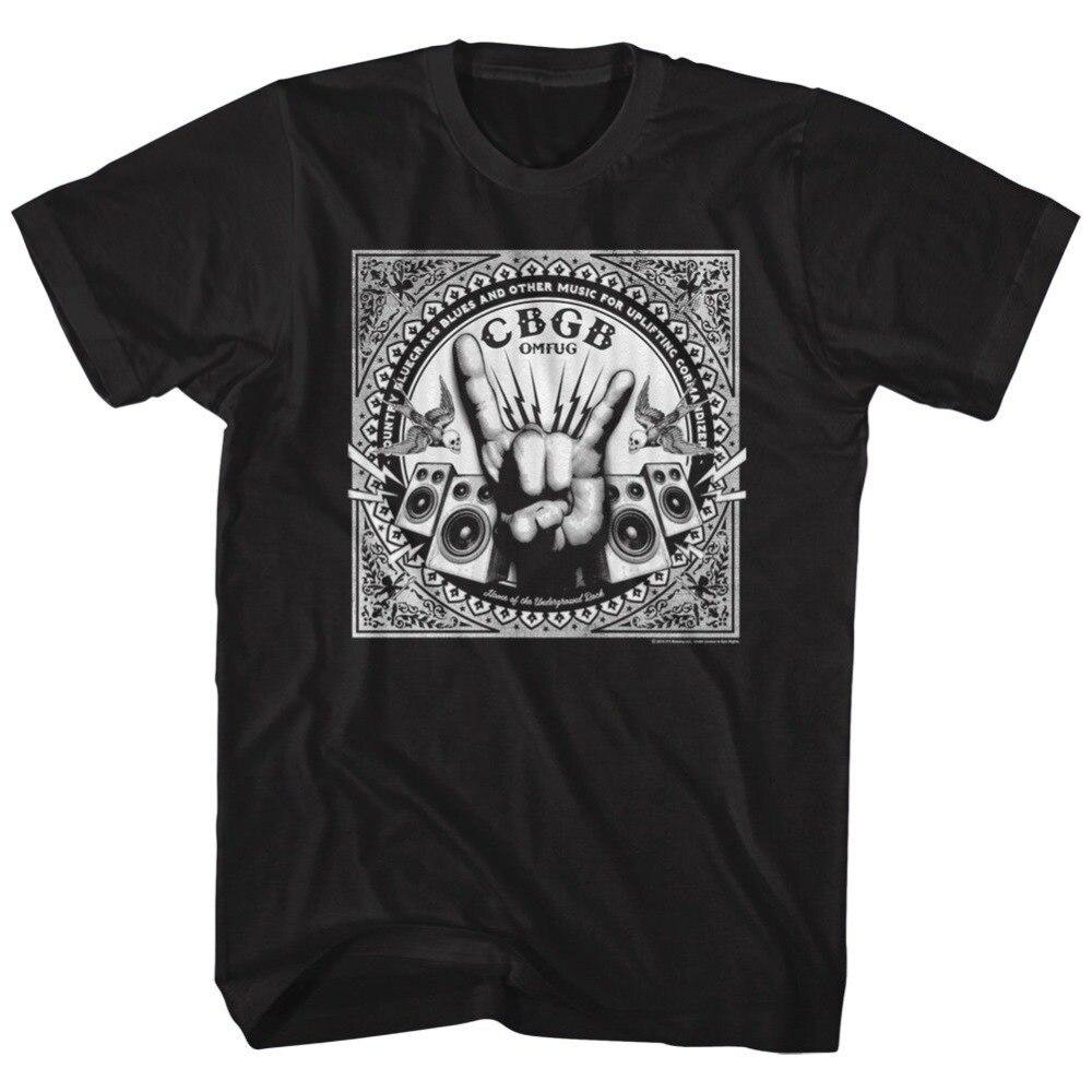 Nova marca 2020 verão masculino curto oficial cbgb omfug rock mão alto-falantes camiseta bonito t camisas