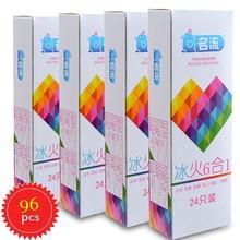 MingLiu 96 pcs/caixas 6 4 Estilos Aquecimento Mint ice & Fire Partículas de Preservativos Ultra-Fino Fio de Seda látex De Borracha Produto Do Sexo Atraso