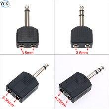 "1/4 ""mono/áudio estéreo jack plug adaptador macho para fêmea 3.5mm/6.35mm duplo jack fone de ouvido microfone y divisor conversor"