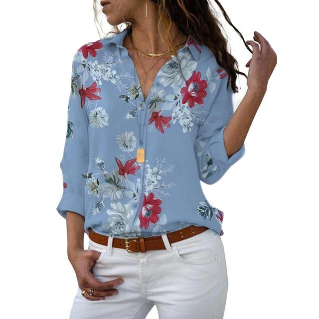 Long Sleeve Women Blouses 2020 Plus Size Turn-down Collar Blouse Shirt Casual Tops Elegant Work Wear Chiffon Shirts 5XL 8