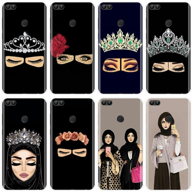 Para Huawei P9 P10 P20 PLUS P20 P30 PRO P8 P9 P10 P20 P30 lite P smart musulmán islámico Gril Eyes hiyab árabe chica TPU funda de teléfono