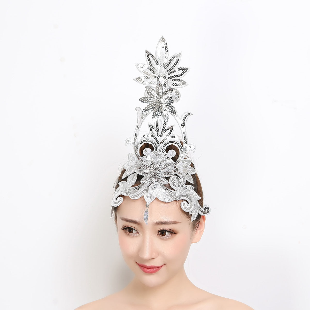 Dance Headdress Performance Kids Hair Accessories Tiara Dance Headdress Multi-color Classical Dance Headdress