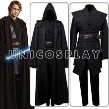Black Robe Costume Jedi Knight Cosplay Tunic Black Cape Halloween Cloak Uniform For Adults Man Custom Made Stage Performance