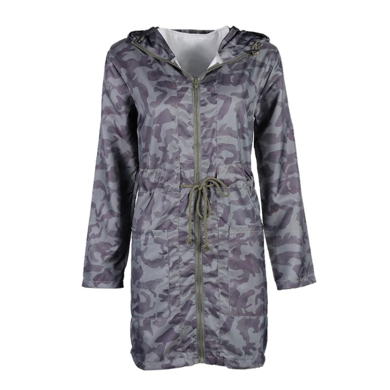 Otoño mujer abrigo de camuflaje suelto Casual de manga larga con capucha cremallera pretina prendas de vestir chaqueta gruesa abrigo largo moda femenina