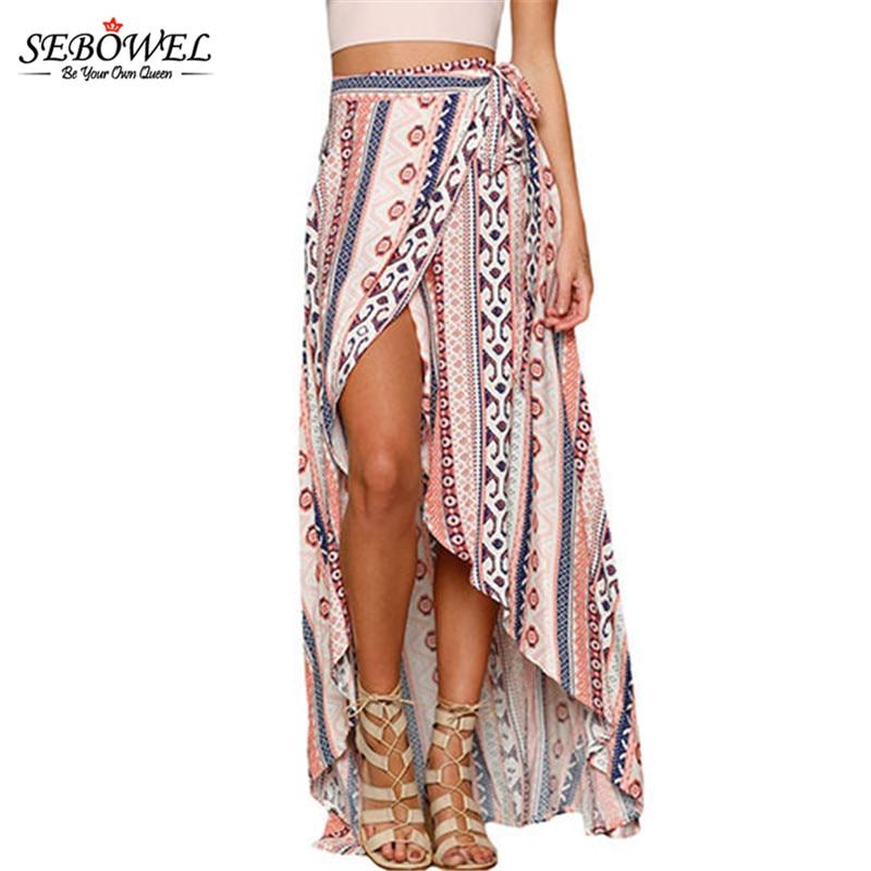 SEBOWEL 2020 dibujo étnico nueva moda Casual verano Falda larga mujeres elegante playa Maxi falda alta cintura asimétrica Boho falda