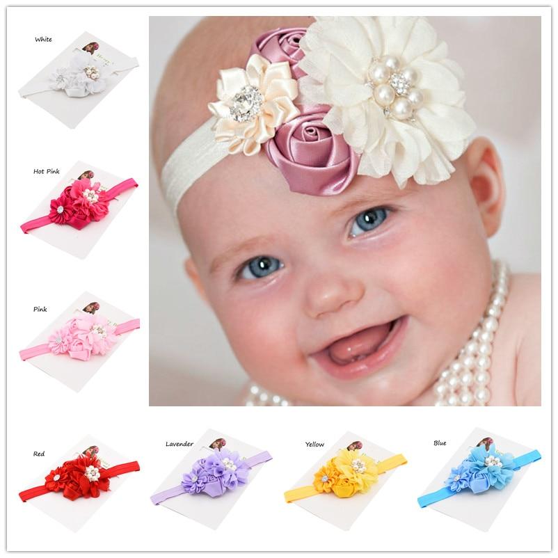 1 pcs hair bows headband da flor gasto cabeça chique batismo headband hair bows headband acessórios para o cabelo