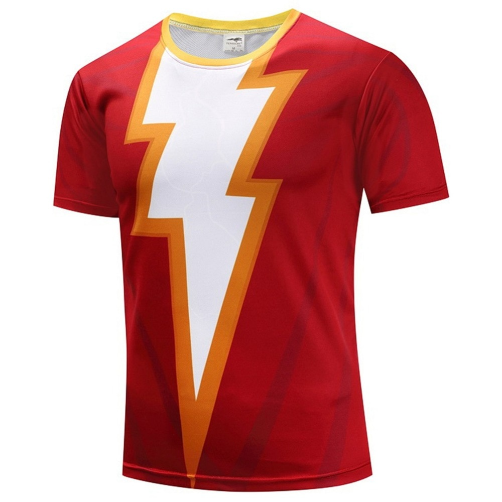 Shazam, Camiseta con estampado de Cosplay 3D, camiseta de manga corta de poliéster