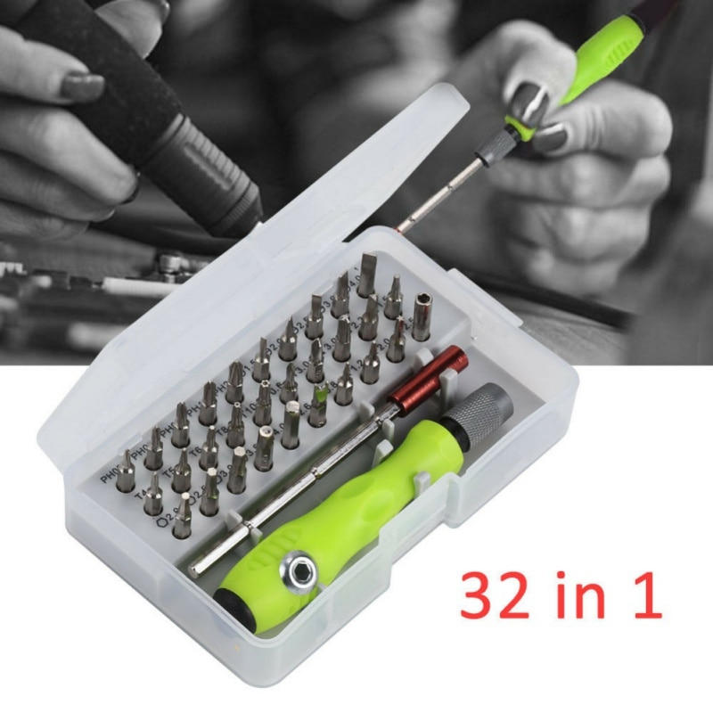 Juego de destornilladores multiusos 32 en 1, destornillador de acero multifunción de aleación de cromo-vanadio, herramientas de mano antideslizantes