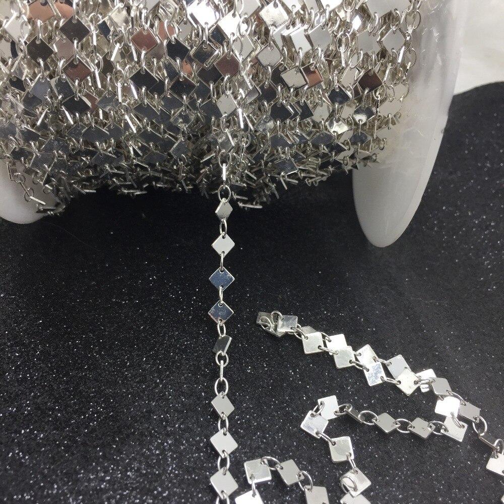 MYLONGINGCHARM al por mayor-Cadena de diamante enchapado en plata 10 pies material bruto latón soldada enlaces chain-F151YIN Cadena de mamparo