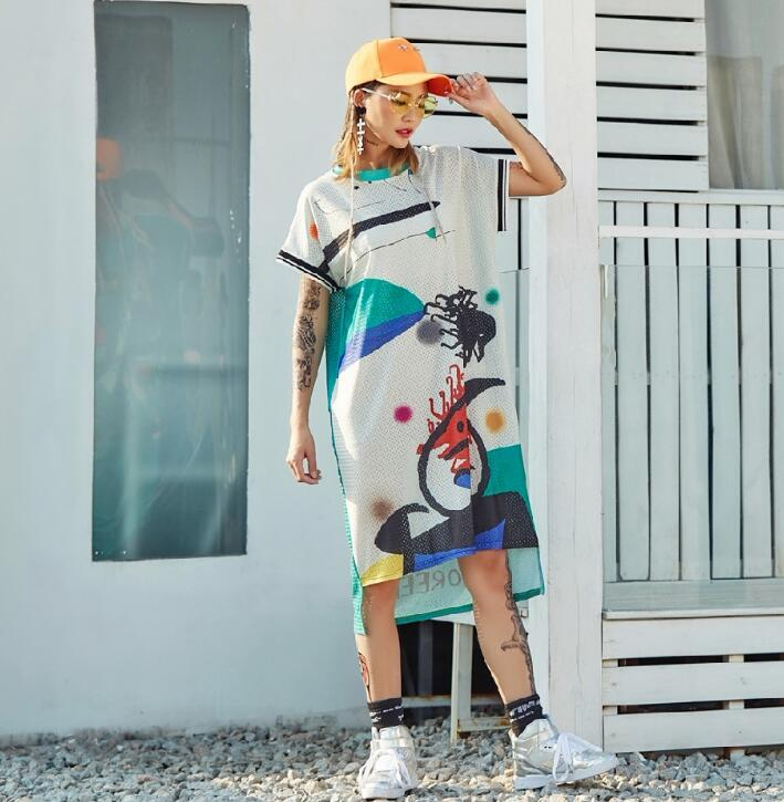 New Pre-Sale 2018 Streetwear Hip Hop Dance Dresses For Women Cartoon Graffiti Loose Straight Long T Shirts Dress