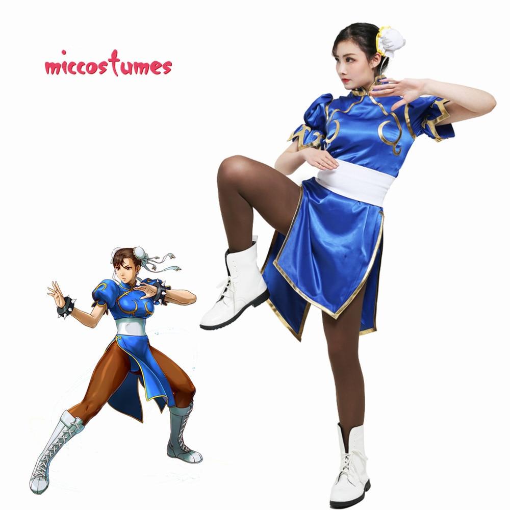 Chun Li Cosplay para Adulto Azul Cheongsam Vestido de Festa do Dia Das Bruxas Roupa Das Mulheres