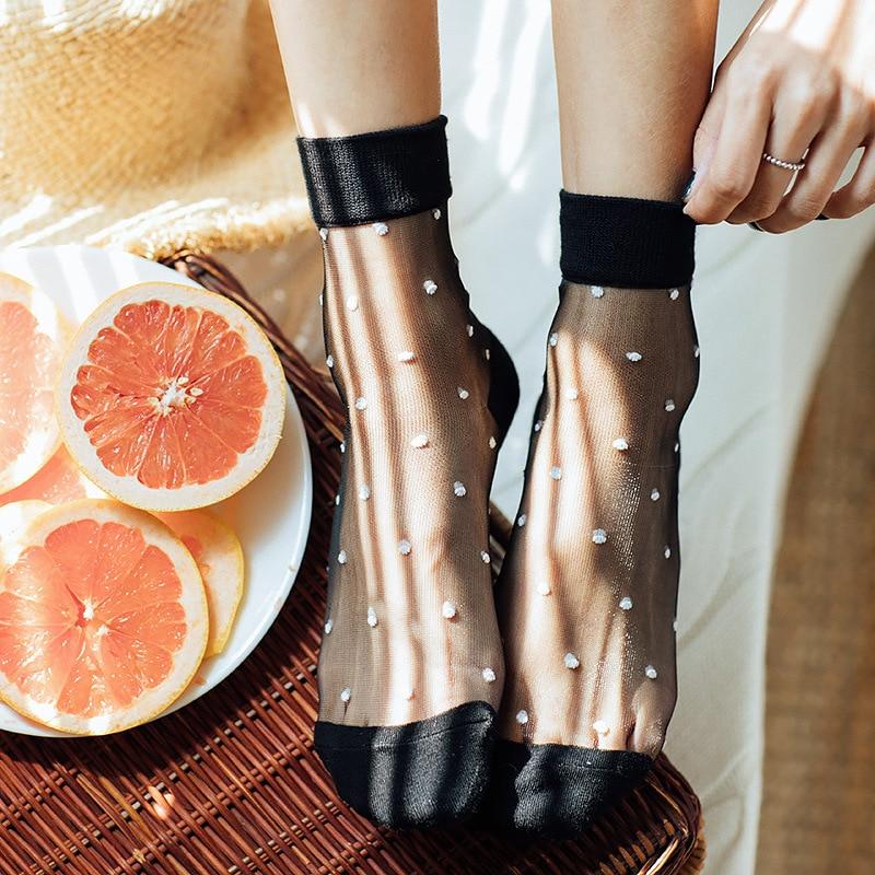 Женские носки, 1 пара, лето 2019, новые цветные женские модные короткие сексуальные носки в горошек для женщин, дышащие прозрачные носки в Корейском стиле