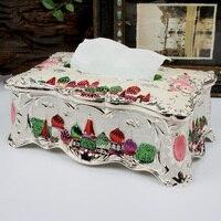 Europe castle large size tissue box metal tissue box napkin case holder paper towel tissue paper box Home Decoration ZJH063A
