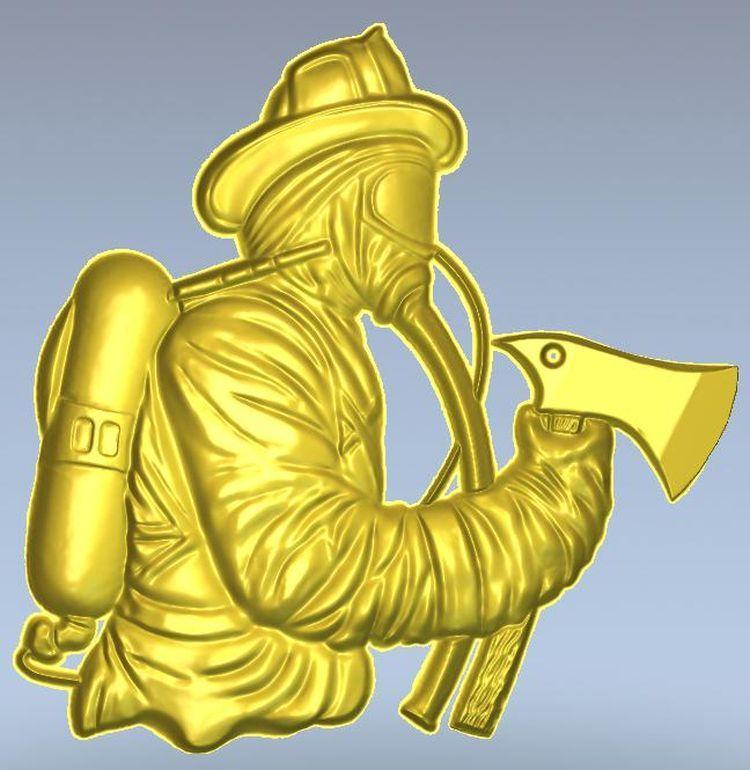 3d relieve de modelo para cnc en formato de archivo STL firefighter