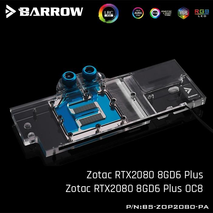 بارو BS-ZOP2080-PA ، غطاء كامل بطاقة جرافيكس كتل تبريد المياه ، ل Zotac RTX2080 8GD6 Plus/ Zotac RTX2080 8GD6 Plus OC8