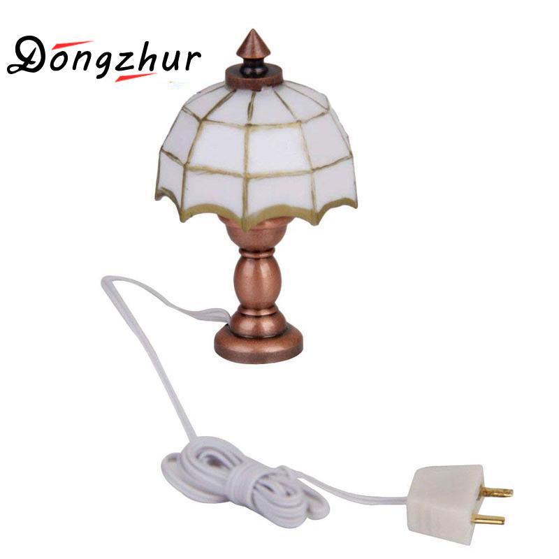 Dongzhur 1:12 maison de poupée Miniature lampe de Table de bureau 12 volts lumière de travail maison de poupée accessoires Mini lampe de Table blanche