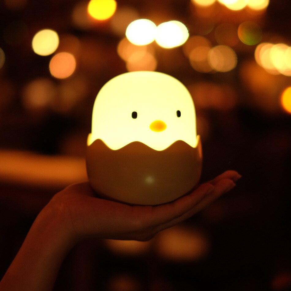 Lámpara Led de noche USB recargable de silicona con forma de pollito de dibujos animados luz para dormir niños regalo de Navidad bebé guardería dormitorio