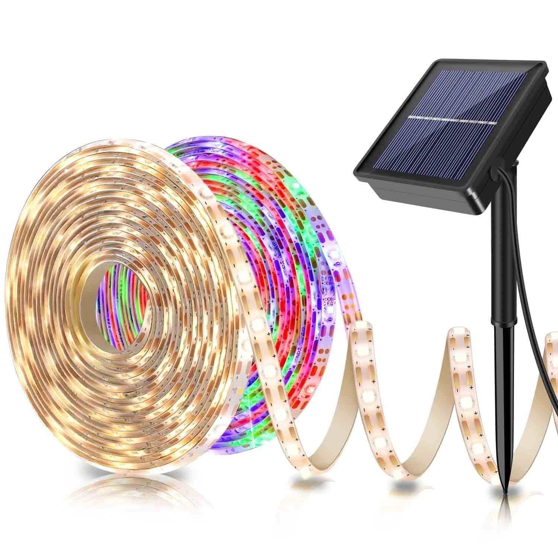 Solar Powered 5M 150LED Strip Light SMD2835 Flexible Lighting Ribbon Tape 8 Modes Waterproof LED Str