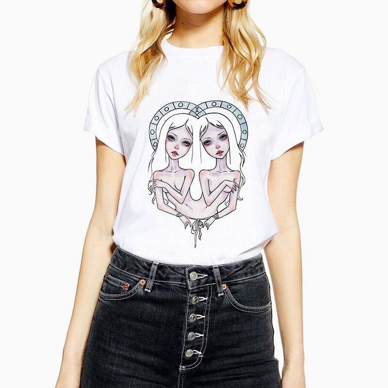 Kmogoer criativo harajuku senhoras t camisa gemini menina de algodão o pescoço do punk camiseta impressão casual manga curta tshirt streetwear