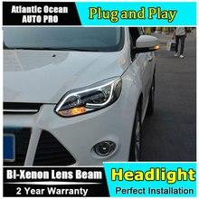 Phares pour ford focus 2012-2014 bi   Lentille xénon, ange Eyes HID, KIT de phares pour Ford Focus, voiture style drl
