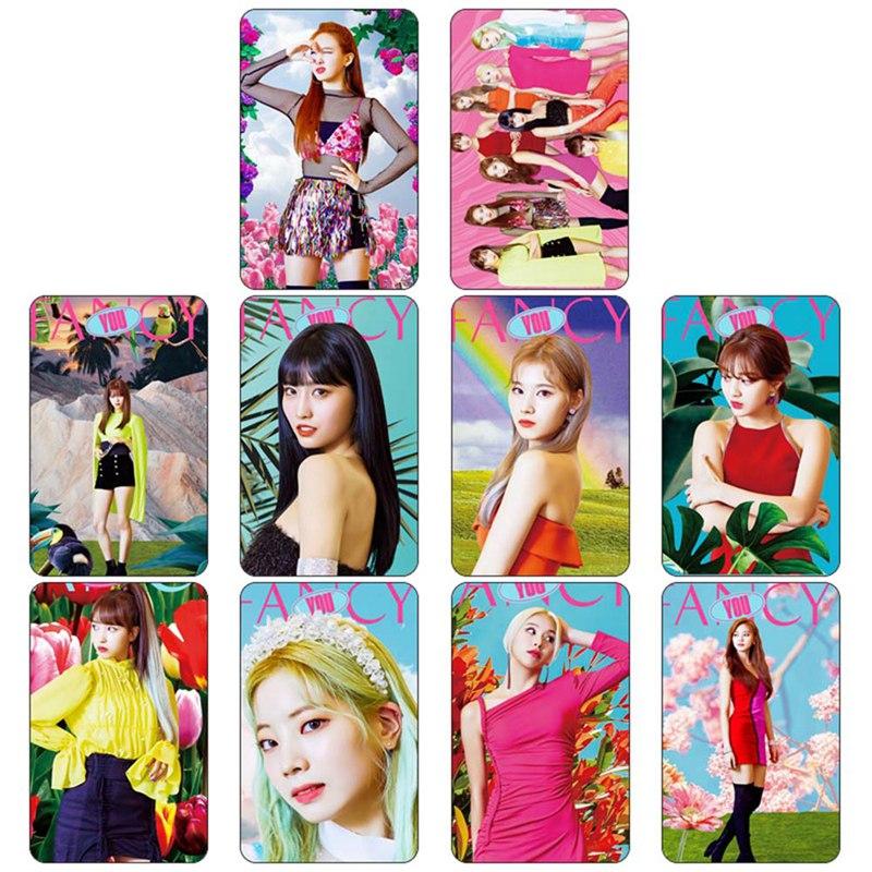10pcs/set Kpop Twice Fancy You Photo Stikcy Card Sana Nayeon HD Photocard Sticker Momo Mina Crystal Card Sticker