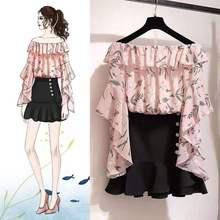 Un mot épaule mode française nouvel été imprimé Floral haut chemisier et noir queue de poisson jupe costume deux pièces ensemble de vêtements dété
