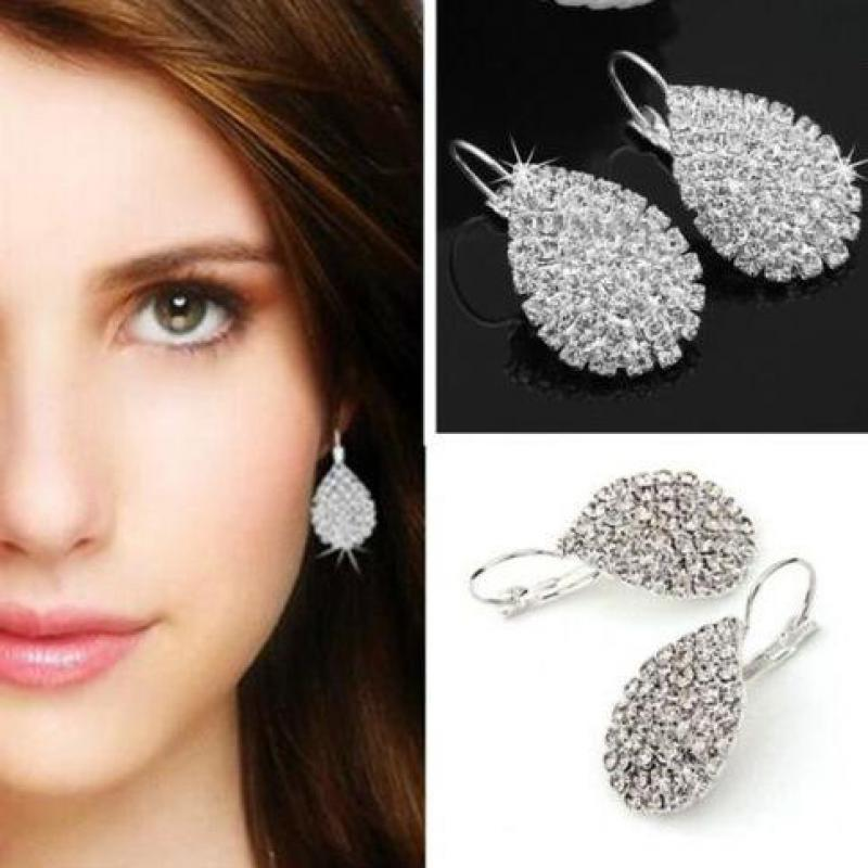 Pendientes de diamante de imitación completos con gotas de agua y cadena de garra de viento para mujer, pendientes exquisitos de gama alta, joyería nupcial para mujer