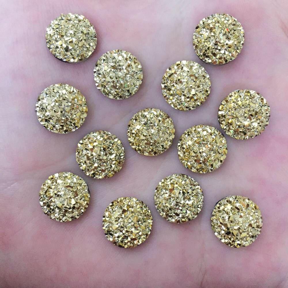 100pcs Resin 12mm Round Ore Gem Flat Back Rhinestone Appliques DIY Wedding Scrapbook Ornament Craft F568