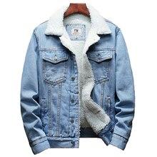2020 hiver nouveau épais chaud mode Boutique couleur unie hommes décontracté Denim veste/mâle laine Denim manteau grande taille S-6XL