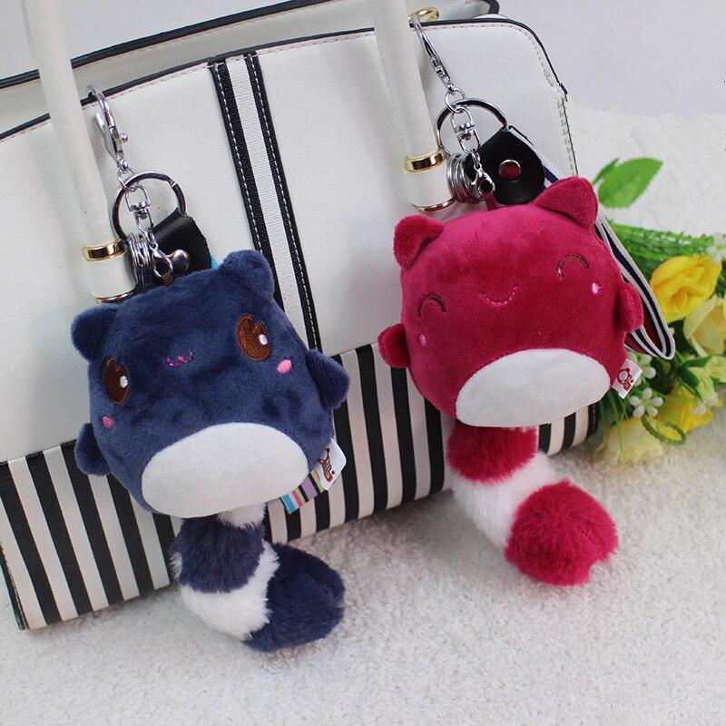 Peculiar Tail Bear Key Chains Key Rings Plush Women Child Bag Accessory Charms Pendant Mini Stuffed Toy Wrist Rope Keychain Gift