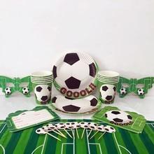 Vaisselle jetable à thème Football vert 51 pièces/lot   Service de table pour enfants, fournitures décoratives pour fête prénatale anniversaire