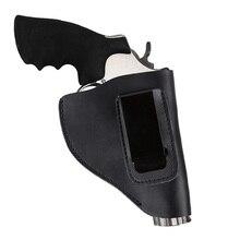 Universal escondido tático genuíno couro do couro preto revólver coldre com clipe de metal mão pistola transportadora