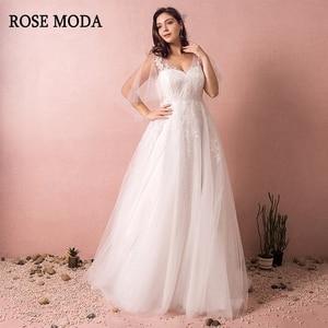 Rose Moda V Neck Plus Size Wedding Dress with Sleeves Lace Plus Size Wedding Gowns with Train Custom Make