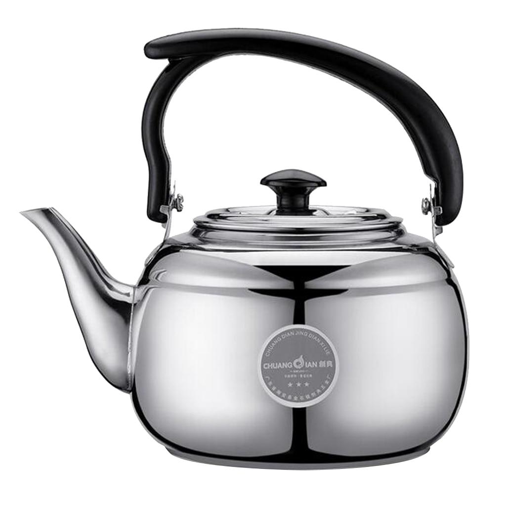 Théière en acier inoxydable 1L   Bouilloire à thé de cuisine en métal Stovetop théière noir blanc 2 couleurs à choisir