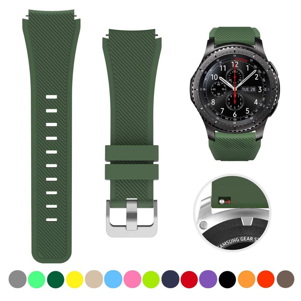 22mm opaski silikonowe pasek na rękę do Samsung Gear S3 Frontier gumowe paski od zegarków S3 klasyczna bransoletka zespoły 18 kolorów