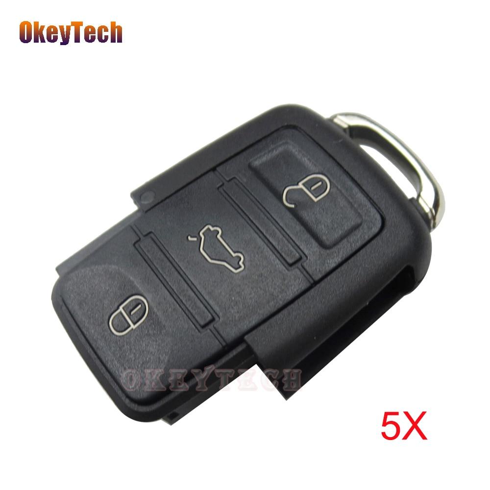 OkeyTech 5 unids/lote plegable 3 botones llave de coche funda carcasa Fob parte para VW Passat Polo Golf Touran Bora Ibiza León Octavia