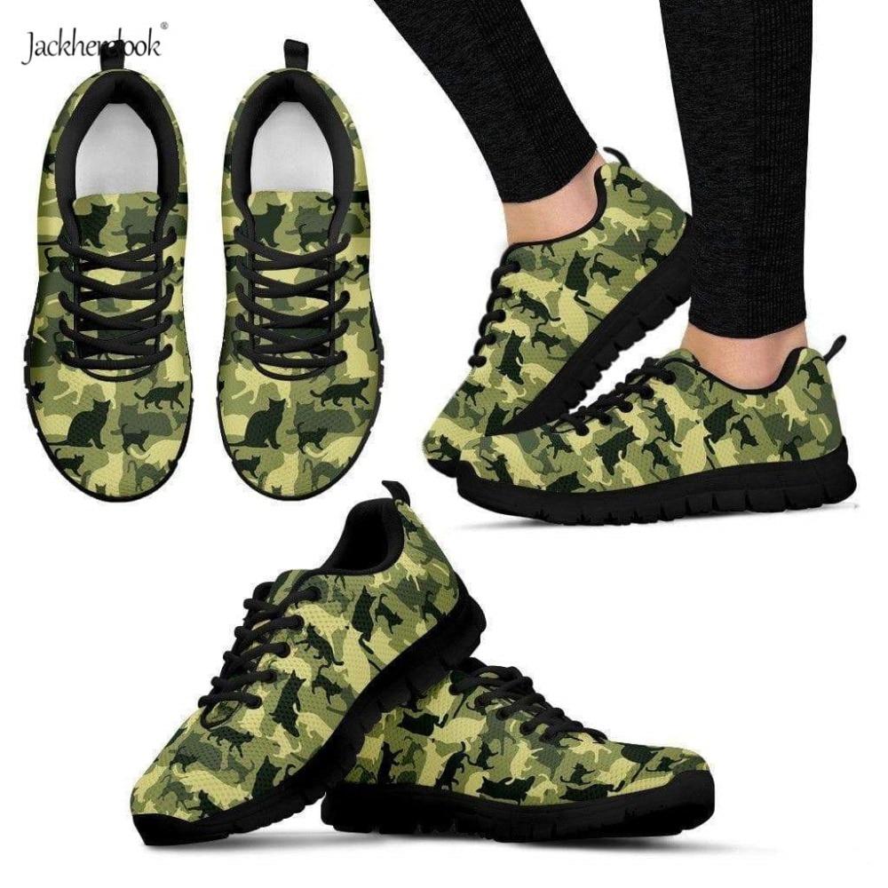 Jackherelook, zapatos vulcanizados ligeros para mujer, zapatillas de moda con diseño de gato, zapatillas de camuflaje para mujer, zapatos informales transpirables de malla de aire para mujer