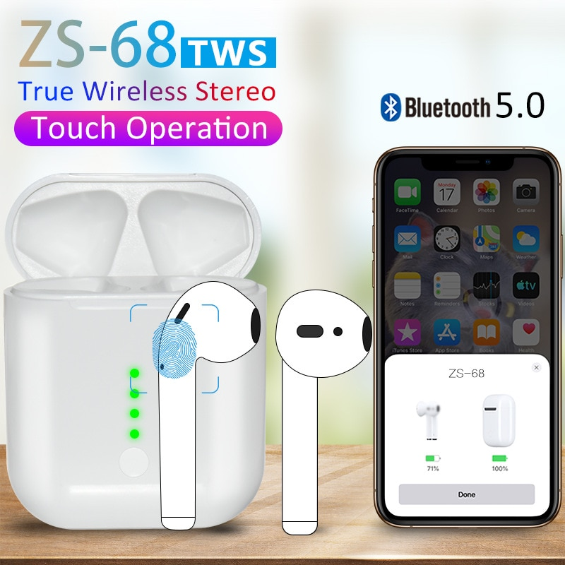 ZS-68 Tws auricular Bluetooth Pop Las 11 auriculares con Supergraves inalámbrico QI de carga de auriculares PK i10 w1 chip i30 i60 i80 i100 i200 tws