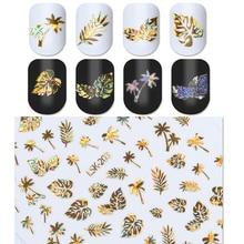 Nouveau 1 feuille holographique or 3D ongle autocollant feuille de cocotier Holo Laser adhésif décalcomanie autocollant manucure Nail Art décoration